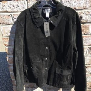 Chico's black suede snap front jacket (NWT)